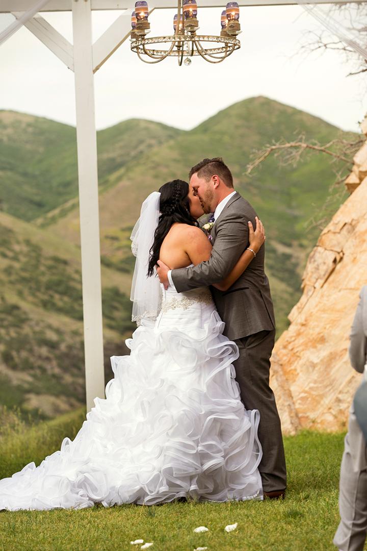 Wedding Photography at Louland Falls Ceremony Kiss