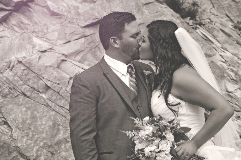 Wedding Photography at Louland Falls B&W Kissing