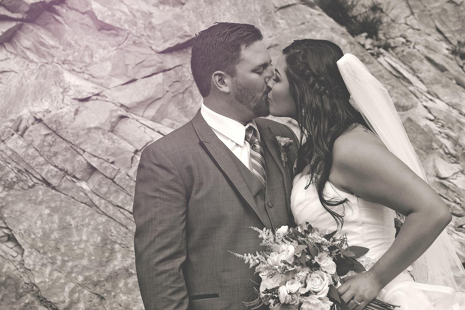 Wedding Photography at Louland Falls B&W Kissing