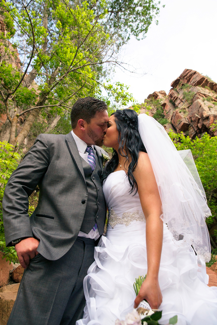 Wedding Photography at Louland Falls Canyon Kiss